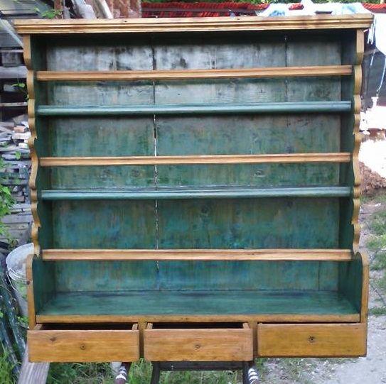 vecchia piattaia tre cassetti riverniciata in stile country chic misure 96x96 x profondità max 30 cm   euro 300