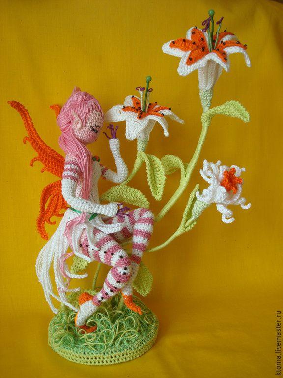 """Купить МК """"Фея Лилия"""". Авторское описание вязания игрушки - разноцветный, цветы ручной работы"""
