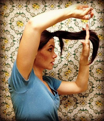 pony-tail method of cutting hair, I have actually done this, makes beautiful layers.