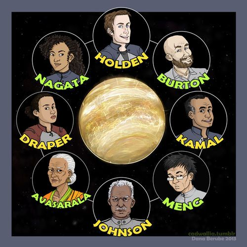 Although 30 billion humans still live on humanity's home planet Earth, the solar system has been colonized and billions live on Mars and in the Asteroid Belt and the outer planets. Viewpoint characters The Expanse novels have several different narrators, showing each chapter from a specific character's viewpoint.  Fan art depicting the main characters of Caliban's War, by dana-reddeAdded by Tobiasvl