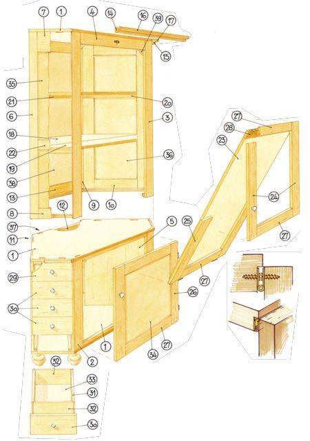 Simple Eckschrank mit Tisch bauen