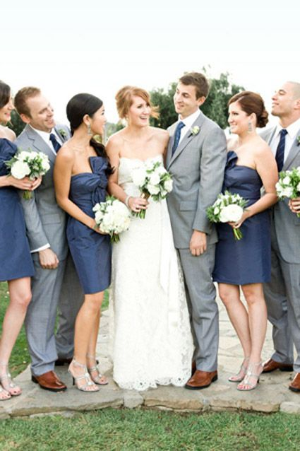 Midnight Blue and Slate Gray Wedding Party