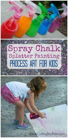 Pulverizar la tiza de la salpicadura del arte Pintura- proceso para los niños. De boca abierta actividad al aire libre para los niños preescolares y niños de primaria. Divertido y fácil!