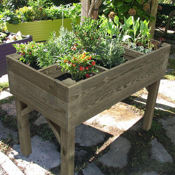 Mesa de huerto de madera, ideal para cultivar todo tipo de plantas. Permite tener tu huerto en espacios reducidos Certificado FSC