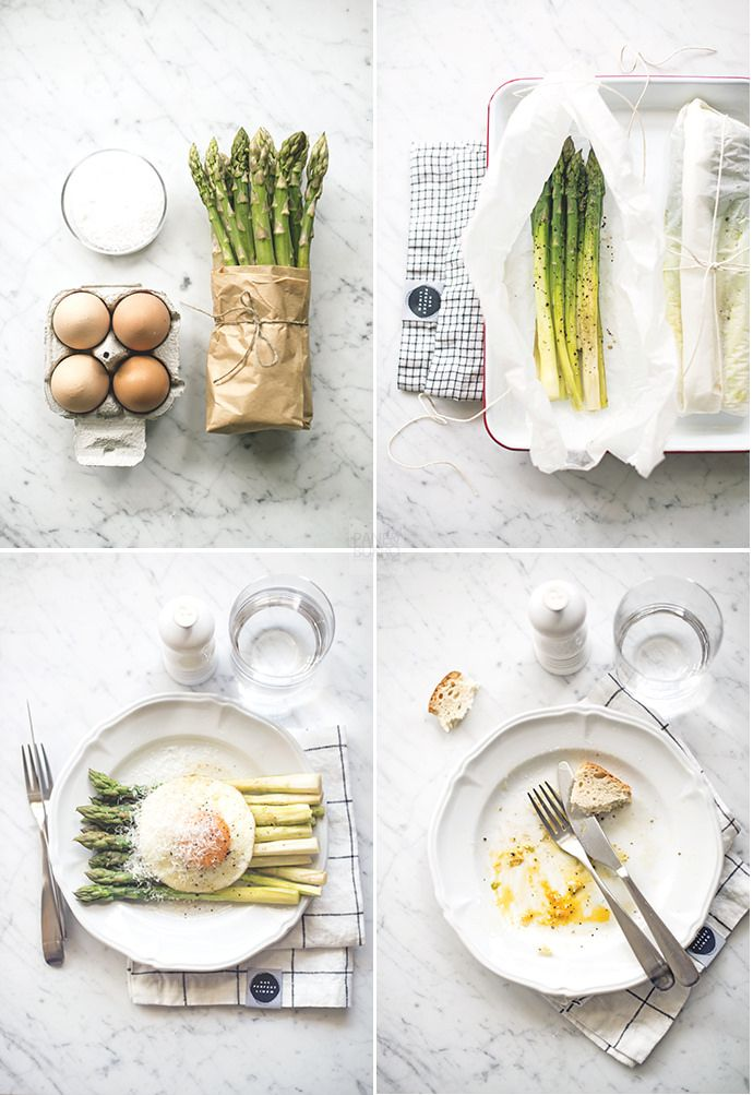 asparagus steamed in parchment paper with fried egg and parmesan by www.pane-burro.blogspot.it