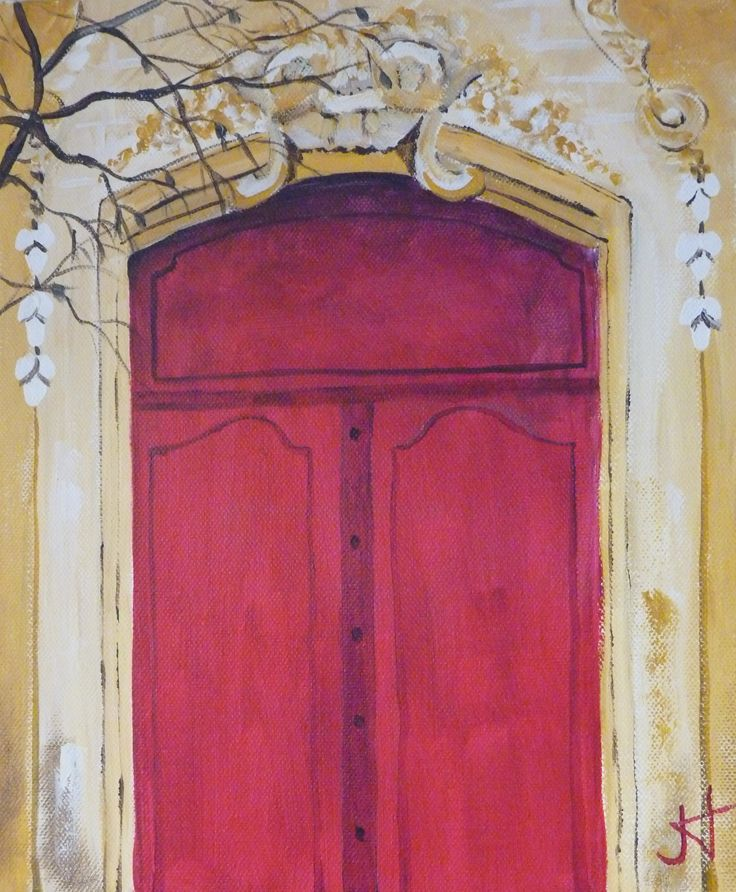 Italian Red door - Acrylic on canvas by Jane Holmes 10 x 12 in $150