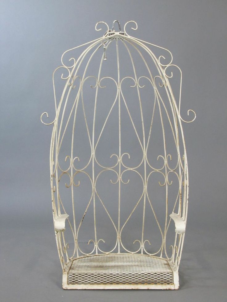 Vintage White Wrought Iron Canopy Egg Outdoor Garden Porch Hanging Swing Seat Chair