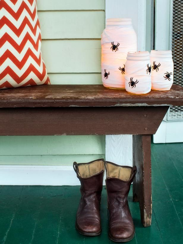 Spider's Nest Luminaries - Spooky Front Porch Decorating Ideas for Halloween on HGTV