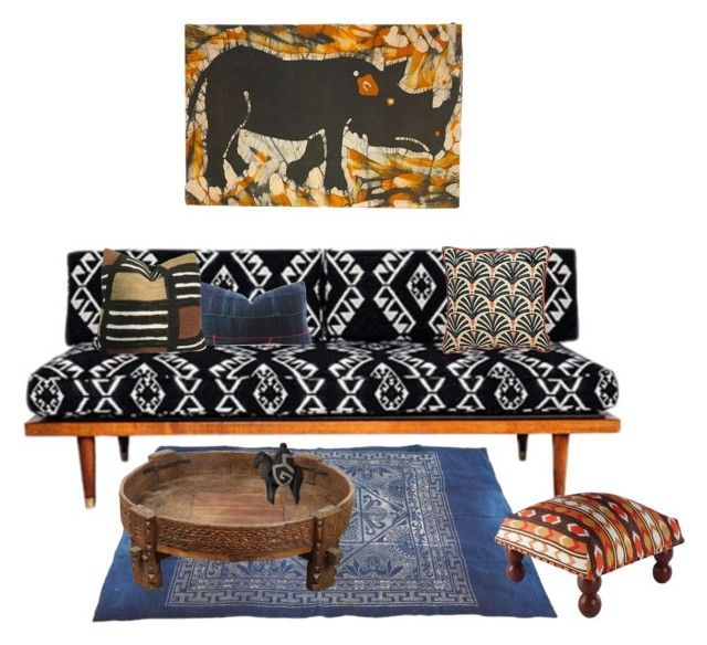 """Ethnic decor"" by perpetto ❤ liked on Polyvore featuring interior, interiors, interior design, home, home decor, interior decorating and Karma Living"