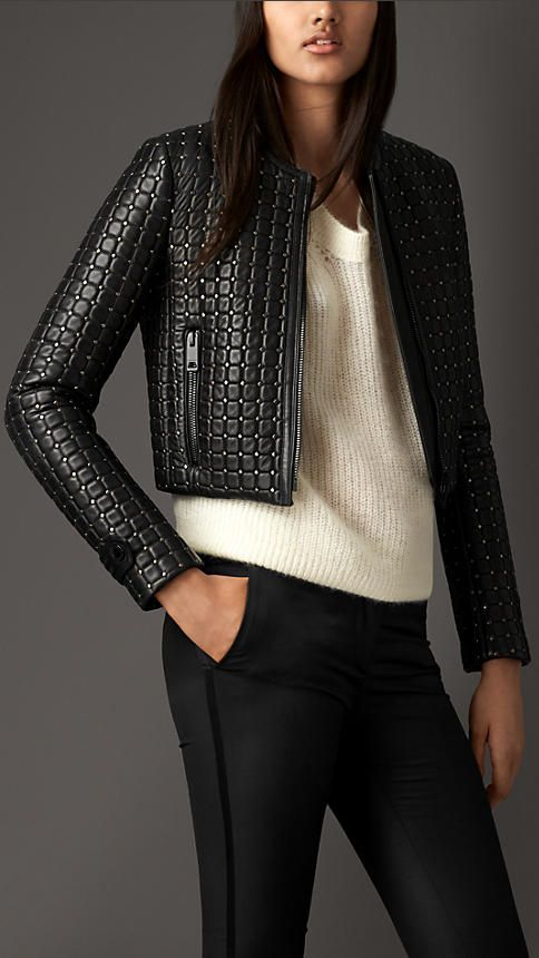Burberry London Cropped Stud Detail Lambskin Jacket