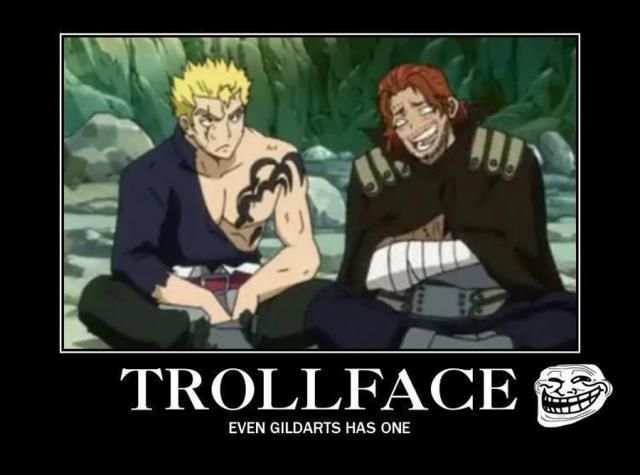 "8 Funny Fairy Tail Memes: ""Troll Face"" Fairy Tail Meme http://anime.about.com/od/toppicks/ss/8-Funny-Fairy-Tail-Anime-Memes.htm"