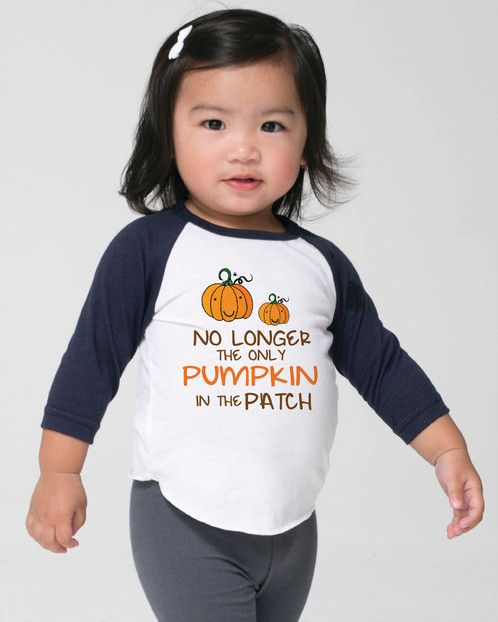 no longer the only pumpkin in the patch shirt, toddler raglan shirt, baby announcement shirt, sibling shirt, big brother, big sister