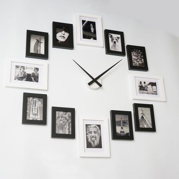 Photo Picture Frame Wall Clock Modern 12 Black Frames On Wall Wall Clock Modern Picture Frame Wall