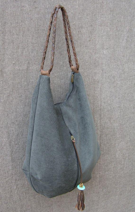 Large hobo canvas and leather bag, shoulder bag, genuine leather, large handbag,…
