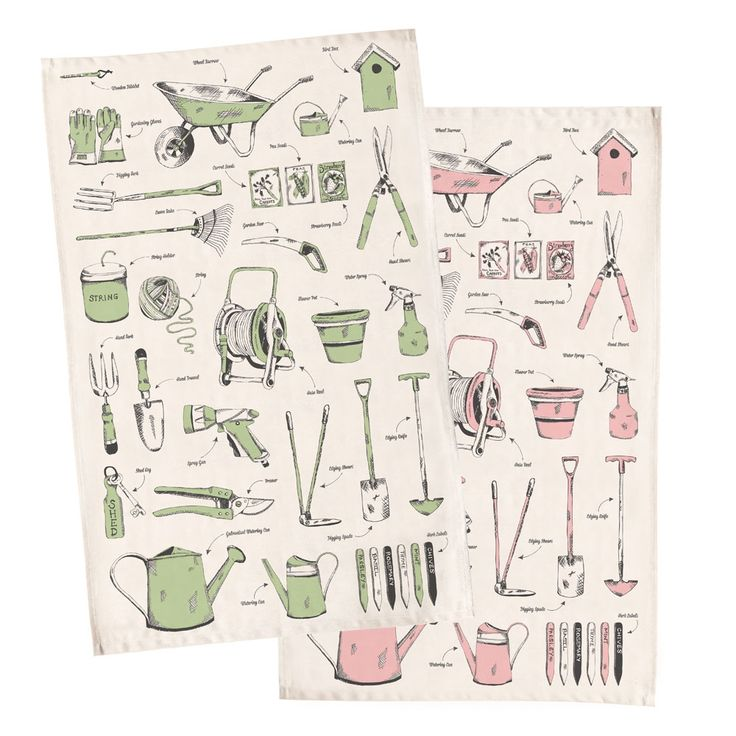 Green fingered organic gardening tea towel   hardtofind.