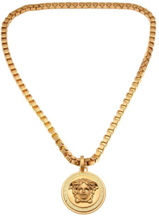 versace medusa medallion necklace gold tone metal