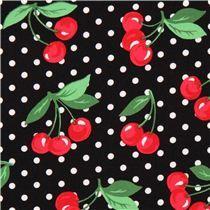 Tela negra cerezas y lunares Cherry Dot de Michael Miller