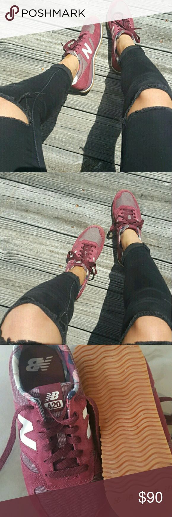 Burgundy New Balances I bought these as a limited edition pair from asos. They are super rare and one of a kind. They are the new balance 420 burgundy with navy blue accents. Pair with an all black outfit and a burgundy lipstick. In great condition. New Balance Shoes Sneakers