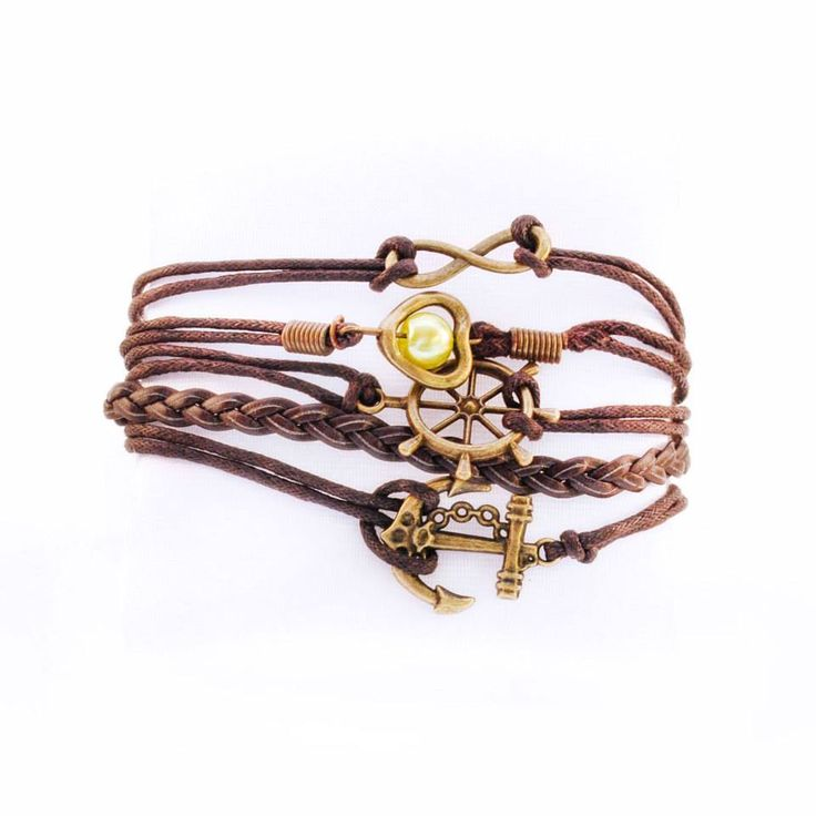 An anchor to keep you grounded,  A helm to steer you in the right direction,  A heart to help you find true love,  An infinity to live like there's no tomorrow.  Colour: Brown/Gold. Material: Copper/Leather.  Price: €6.00.
