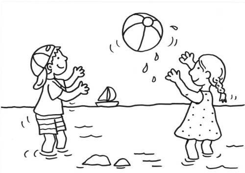 sommer kinder spielen wasserball zum ausmalen  spiele