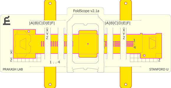 Foldscope: a 2000x microscope made from folded paper and a cheap lens that costs only $0.50.