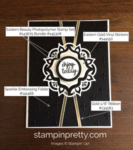 Eastern Beauty Stamp Set & Eastern Medallions Thinlits Friendship Card.  Mary Fish, Stampin' Up! Demonstrator.  1000+ StampinUp & SUO card ideas.  Read more https://stampinpretty.com/2017/07/add-sophisticated-polish-with-eastern-medallions-dies.html