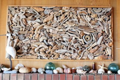My grandma's friend collected pieces of driftwood off the beach and  turned them into an intricate collage that sits above the fireplace.   Every time I look at it I find something new.