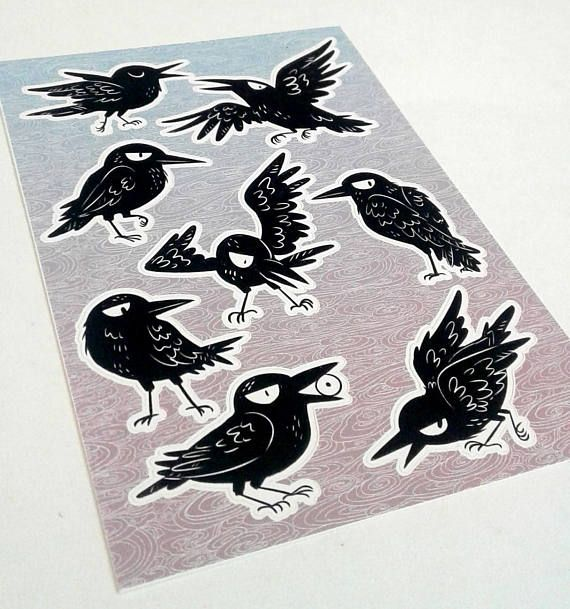 Sassy Crow Sticker Sheet Stickers Vinyl Aufkleber