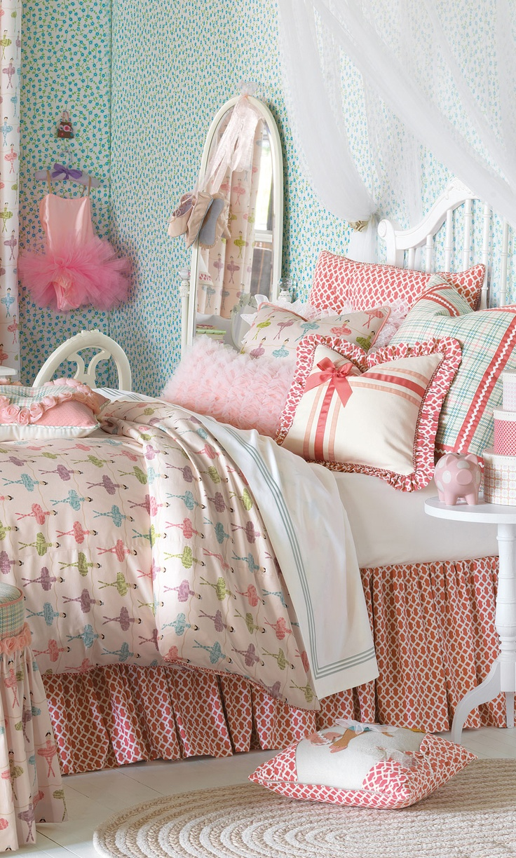 Little Girls Ballerina Bedroom The Bed Has A White Wooden Frame The Sheets Have