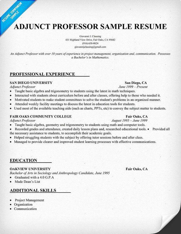 Entry Level Adjunct Professor Resume New Resume Example For Adjunct Professor Resume Panion Teaching Resume Teaching College Adjunct Professor