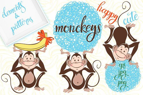 Monkeys. by maritime_m on @creativemarket