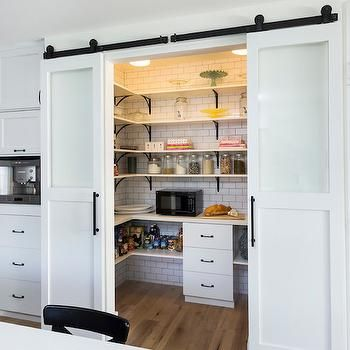 Counter with upper and lower open shelves. Space for microwave. Make it pretty since door will likely be open a lot. Walk In Pantries, Transitional, kitchen, Von Fitz Design