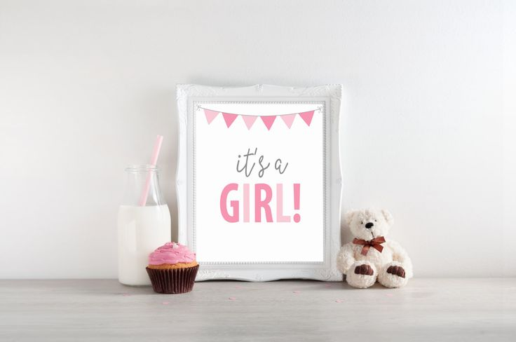 Its A Girl Gender Reveal Announcement Sign || 8 x 10 DIGITAL DOWNLOAD Printable Baby Shower Sign || Pregnancy Announcement Sign