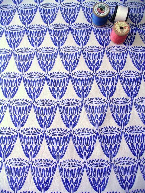 King Protea / Royal Blue on Natural / Henri Kuikens block printed textiles