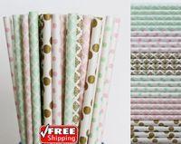 150 stücke Gemischt 6 Designs Rosa, Mint Grün und Gold Themen Papierstrohe-Damast, Dot Baby Shower Geburtstag Hochzeit Vintage Parteistrohe