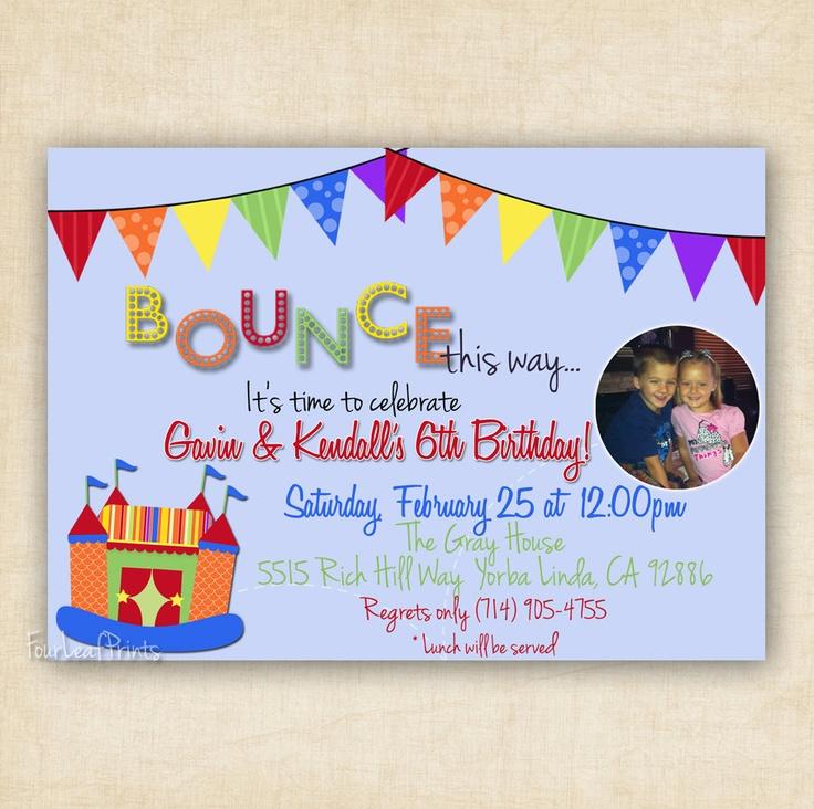 13 best Invitation Ideas images on Pinterest | Bounce house birthday ...