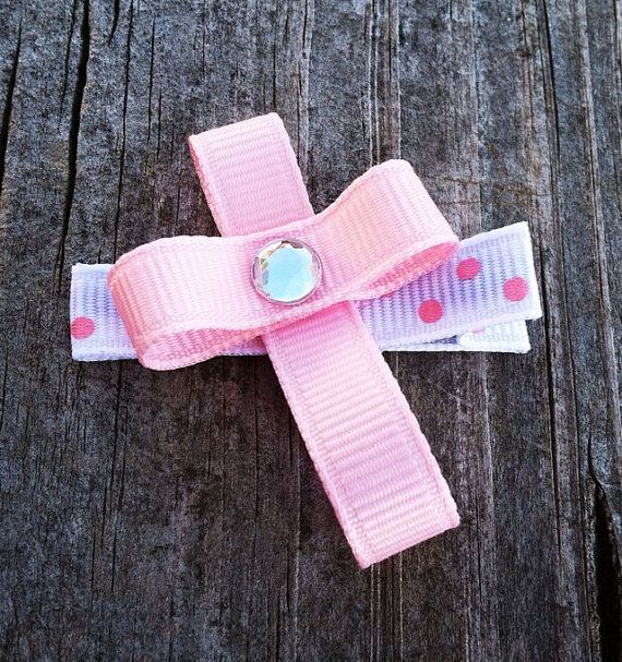 Cross Ribbon Sculpture Hair Clip.. OOAK - Toddler Hair Bows - Girls Accessories - Free Shipping Promo. $3.50, via Etsy.