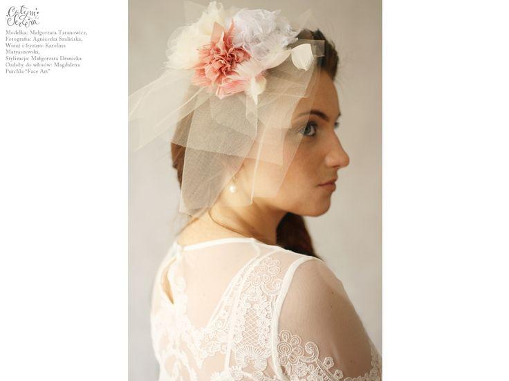 """Naturally Chic"" wedding makeup and hair. / Photography: Agnieszka Szalinska / Model: Malgorzata Taranowicz / Makeup & Hair: Karolina Matyaszewski for Calym Sercem / Head accesories: Magdalena Purchla ""FaceArt""."