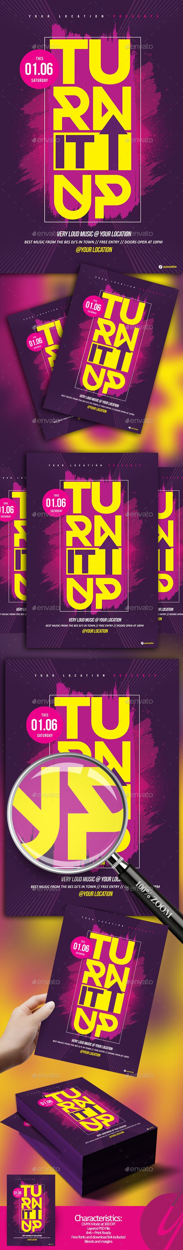 Turn It Up Flyer Template PSD