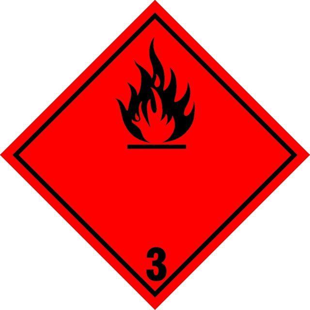 Naklejka Materiały ciekłe zapalne. Oznaczenie stosowane w transporcie materiałów ciekłych zapalnych określonych w klasie 3 Umowy ADR. Charakterystyka...