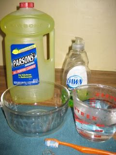 Homemade jewelry cleaner  1 c. warm water  1 t. ammonia  1 t. dish soap