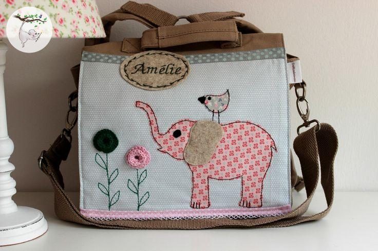 Kindergartenrucksack ♥ Kleiner Elefant & Spatz ♥  von Stoffzaubermaus® auf DaWanda.com