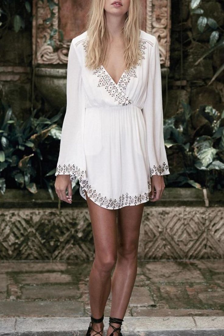 White Aztec mini with v neck designs.   Aztec Mini Dress  by The JetSet Diaries. Clothing - Dresses - Mini Germantown, Tennessee