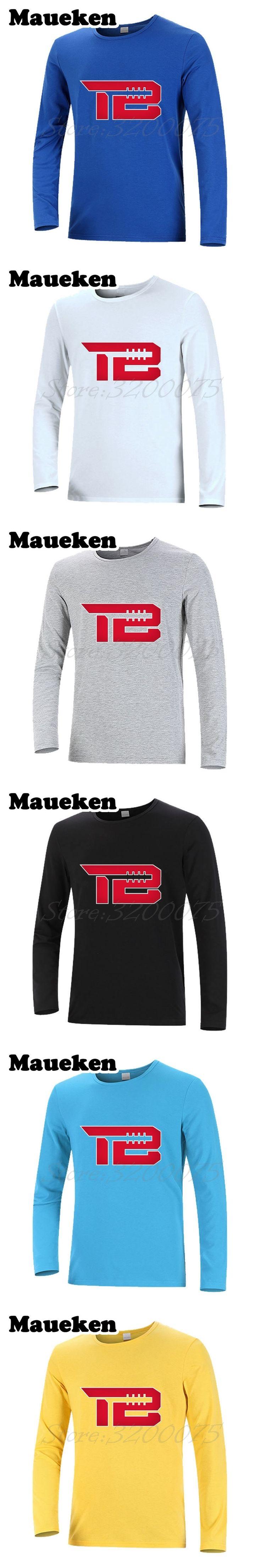 Men Autumn Winter #12 Tom Brady TB Logo New England T-Shirt Long Sleeve Tees T SHIRT Men's Fashion W1031010
