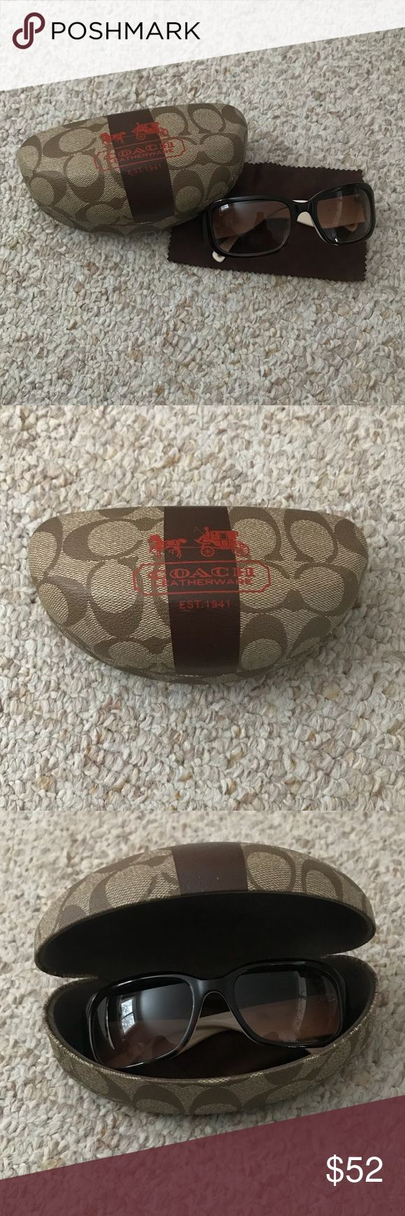 Coach Sunglasses Authentic Coach sunglasses to save your eyes from the sun, while looking fresh. Great condition. Order includes case, glasses, and cleansing cloth. No scratches or marks. Coach Accessories Glasses