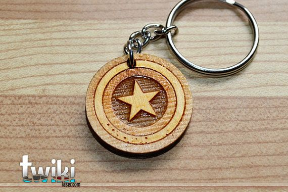Laser cut and engraved Captain America Shield wood keyring. By TwikiConcept on Etsy