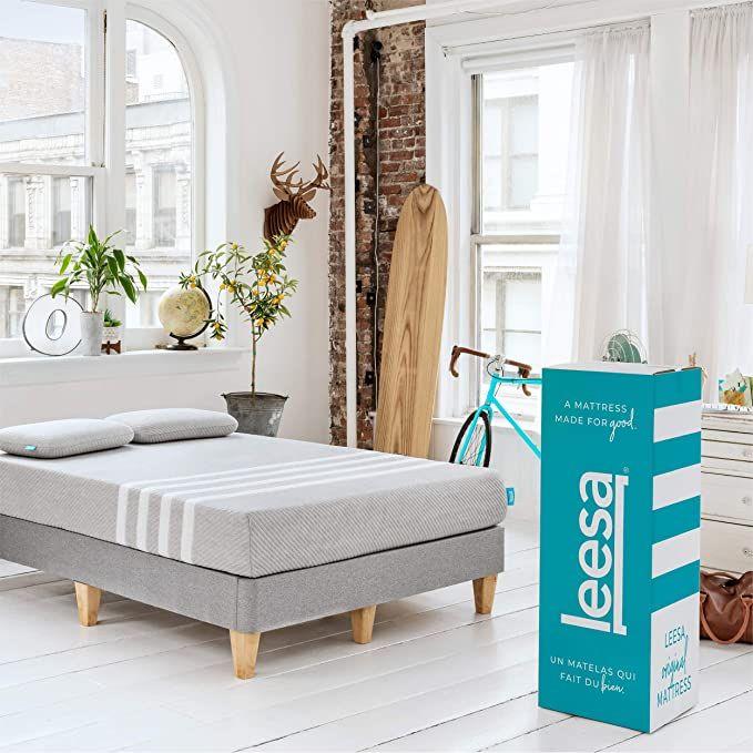 Leesa Box Mattress Queen Gray Amp White In 2020 Leesa Mattress Layered Mattress Comfort Mattress