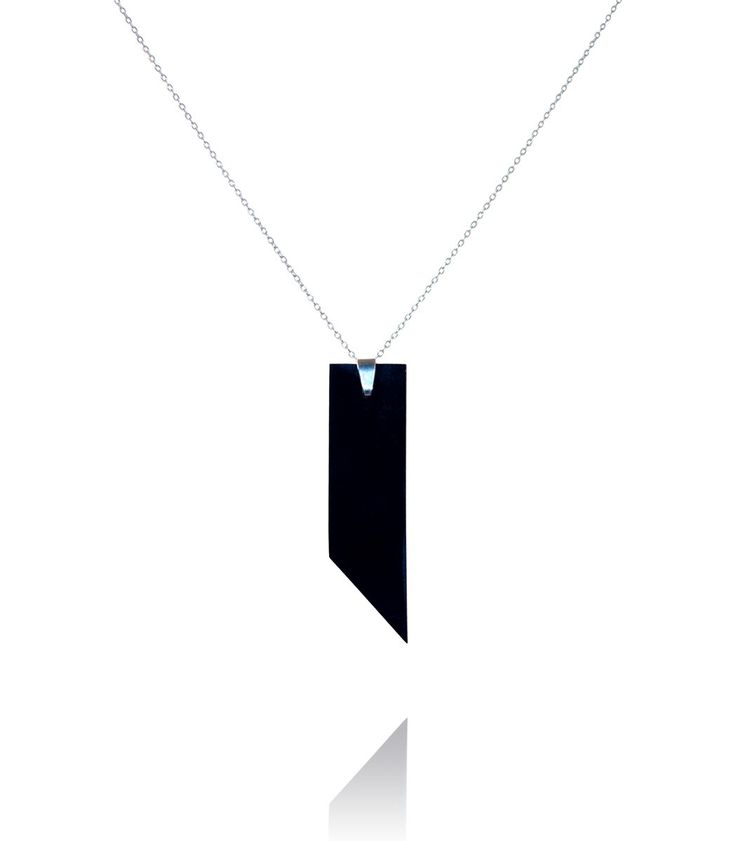 Long necklace with a square pendant  #DiLeonora #jewellery #jewelry #black #simplyblack #necklace #silver