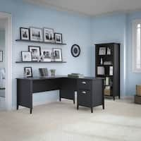 kathy ireland Office Connecticut Black Suede Oak 60W L-desk and Bookcase