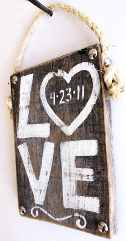 Wedding Decor Love Sign Hand Painted on Reclaimed by MangoSeed
